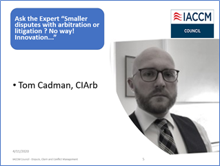 Tom Cadman from CIArb